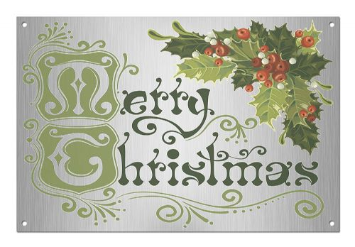 'Merry Christmas' Brushed Aluminium Metal Sign